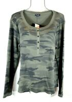 Splendid Forever Thermal Henley Green Camo Top Blouse XL NWT