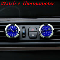 Car Clock Watch Thermometer A/C Vent Clip W/ Perfume Refill Storage Fragrance