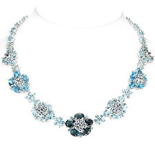 108.65 CT. GENUINE AAA TOPAZ & SAPPHIRE STERLING 925 SILVER FLOWER NECKLACE 19