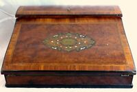 """Antique French Napoleon III Marquetry Inlay 13"""" Ecritoire Writer's Box Boulle"""