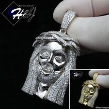MEN 925 STERLING SILVER ICY DIAMOND SILVER/GOLD 3D JESUS FACE PENDANT*SP291