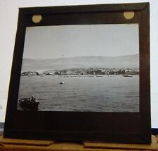 Antique Glass slide Gibraltar Boats and Moorings.1930's