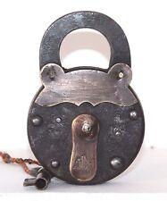 1900's Antique Handmade Beautiful Fox Marked IRON Pad lock Made in GERMANY #58