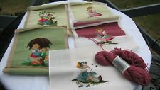 "Vtg worked - unworked Needlepoint set of 5 13""x 13"" with yarn/needles to finish!"