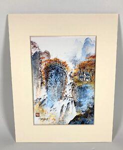 "Bryan Yung Asian Mountain Waterfall Landscape Art Print 10"" x 8"""