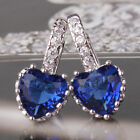 Friendship Earring 18k white gold filled sapphire wedding leverback earring