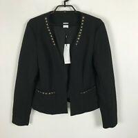 Vero Moda Black Textured Studded Open-Front Jacket Blazer Womens Size 42 Large
