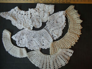 #4  LOT OF 5 VINTAGE CROCHETED DETACHABLE WHITE & OFF WHITE LADIES DRESS COLLARS