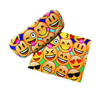 Spoontiques Padded Emojis Eye Glass Case with Matching Lens Cloth