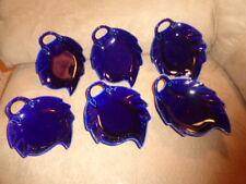 "Dish Leaf Shape 6"" Solid Royal Blue Ceramic w/ Handle Candy Nut Dessert Set of 6"