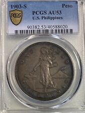 1903-S US Philippines 1 Peso Silver PCGS AU53 Toned