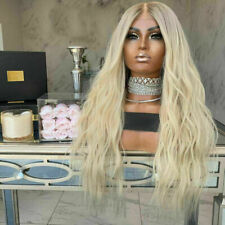 Luxury Lace Front Remy Platinum Blonde Ombre Full Lace Human Hair Wig Wavy