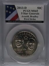 PCGS First Strike 2013-D 5-STAR GENERALS Half Dollar MS69 RARE Low Mintage Coins