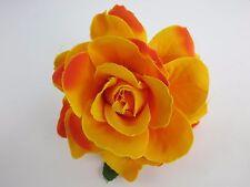Yellow Hair Rose Brooch Orange Tiki Rockabilly PinUp 50s Burlesque Flower