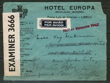 PORTUGAL Scott #594(3) on 1941 CENSOR AIRMAIL COVER LISBON to NEW YORK (OS-256)