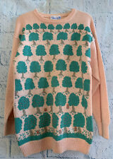 Deans of Scotland Vintage Knit Wool Apple Orchard Sweater, Peach & Teal Sz Small