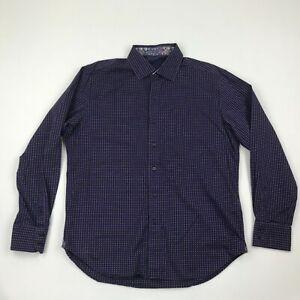 Robert Graham Men Black Purple Gingham Button Front Long Sleeve Shirt sz L