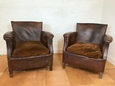 Antique pair of French leather club chairs