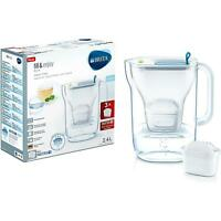 Brita Style Water Filter Jug with 3 Maxtra+ Cartridges, Slim Fridge Design, Blue