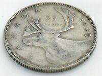 1948 Canada Twenty Five 25 Cents Quarter Canadian Circulated George VI Coin J673
