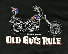 Old Guys Rule T Shirt Born To Be Wild Motorcycle Charcoal BLACK Size Medium