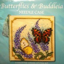 BUTTERFLIES/BUDDLEIA- Cross Stitch NEEDLE CASE Kit by Textile Heritage, SCOTLAND