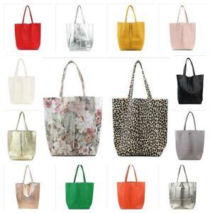 Trendy italy Shopper große Schultertasche Handtasche viele Farben Echtleder