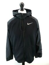 NIKE Mens Hooded Jacket Coat L Large Black Grey Polyester