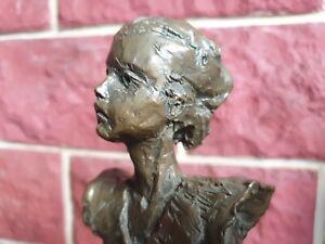 Skulptur Bronze Mädchen Frau L. M. Lafuente selten 35cm 2,5kg Büste Statue
