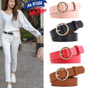 New Waistband Alloy Circular Buckle Waist Womens Belt Fashion Vintage PU