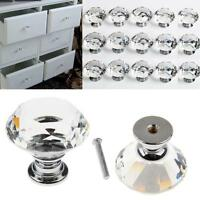 8/16/32PC Clear Crystal Glass Door Knobs Cupboard Drawer Cabinet Kitchen Handles