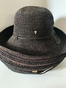 NWT Helen Kaminski Provence 12 Packable Charcoal Raffia Straw Hat Retail $250
