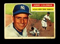 1956 TOPPS JERRY COLEMAN #316 YANKEES SIGNED AUTOGRAPH PERIOD