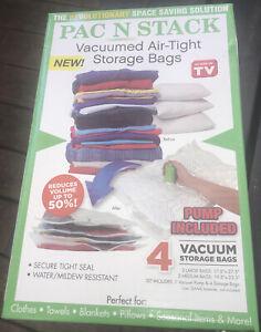 PAC N STACK - Handheld Vacuum Sealing Storage 4 Bags PUMP INCLUDED AS SEEN ON TV