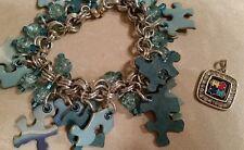 Autism awareness puzzle piece bracelet and necklace pendant
