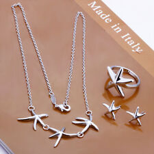 925Sterling Silver Jewelry Lovely Starfish Women Necklace Earrings Ring set 174