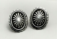 Vintage Taxco Mexico Tribal Sterling Silver Clip On Earrings
