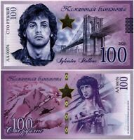 Russia 100 rubles 2020, Sylvester Stallone, Souvenir polymer banknote, UNC