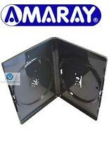 200 Doppie NERO DVD caso da 14 mm spina ricambio nuovi blocchi di copertura 2 Dischi Amaray