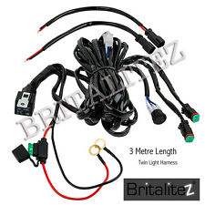 12V TWIN Wiring kit Includes Switch & Relay LED Spotlights Work Fog light Bar