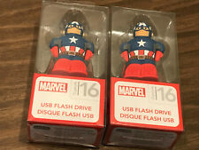 PAIR OF CAPTAIN AMERICA 16GB USB THUMB FLASH DRIVES MARVEL / NEW