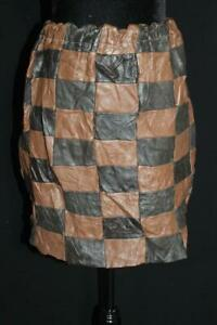 VINTAGE 1970'S WOMAN'S BROWN PATCH LEATHER SKIRT SIZE SMALL