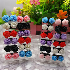 12 Pairs Rose Stud Earrings Mixed Color Flower Earrings Wholesale Jewelry Set