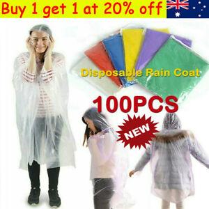 100Pcs Disposable Emergency Waterproof Rain Coat Poncho Hiking Camping Hood