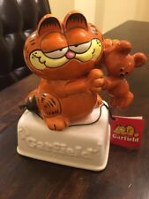 RARE Vintage Enesco 1981 Garfield & Pooky Ceramic Music Box w/Tags-MINT-Works