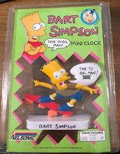 BART SIMPSON * The Simpsons Mini Clock from Nelsonic * 1990 New Old Stock