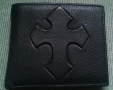 NEW Mens Christian Cross Biker BLACK GENUINE LEATHER Bi-fold Coin Pocket WALLET