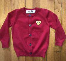 PLAY ~ Comme Des Garcons ~ Heart ~ Cardigan ~ Kids ~ Red