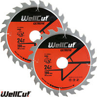 WellCut TCT Saw Blade 190mm x 24T x 30mm Bore For HS7601J, HS7100,5704 Pack of 2