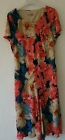 EMMA BLAKE  PINK BEIGE FLORAL DRESS  FLARE SLEEVES FULLY LINED UK 20 FLARE